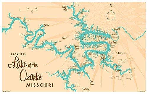Lake of the Ozarks Missouri Map Vintage-Style Art Print by Lakebound (12