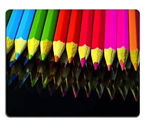 Row of Color Pencils Mouse Pads Customized Made to Order Support Ready 9 7/8 Inch (250mm) X 7 7/8 Inch (200mm) X 1/16 Inch (2mm) High Quality Eco Friendly Cloth with Neoprene Rubber MSD Mouse Pad Desktop Mousepad Laptop Mousepads Comfortable Computer Mouse Mat Cute Gaming Mouse_pad