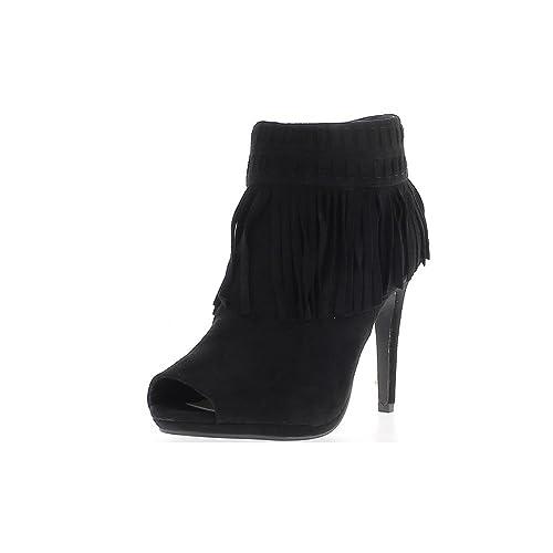 Mujer, Botines, Tacones Finos de Negro 10.5 cm abren Ven Gamuza y Flecos: Amazon.es: Zapatos y complementos