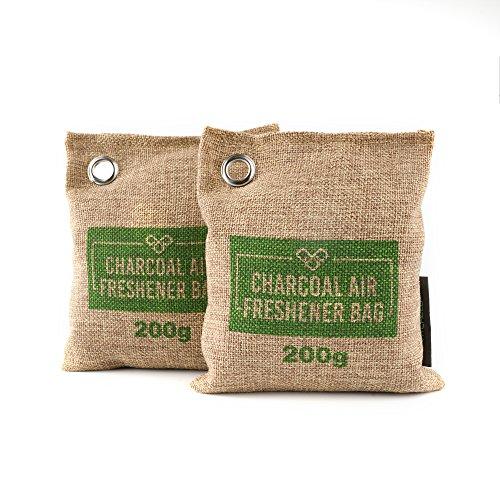 charcoal bamboo deodorizer odor air eliminator freshener natural bag room closet vitchelo reusable 200g absorber brown amazon