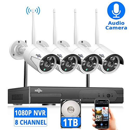 ([Expandable 8CH] Wireless Security Camera System with 1TB Hard Disk with Audio, Hiseeu 8 Channel NVR 4Pcs 1080P 2.0MP Night Vision WiFi IP Security Surveillance Cameras Home,Outdoor, Easy Remote View )