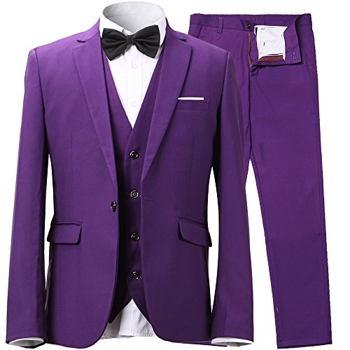 Men's Slim Fit 3-Piece Suit Blazer One Button Suit Jacket Tux Vest & Trousers,Purple Suit US Size (Suits Purple)