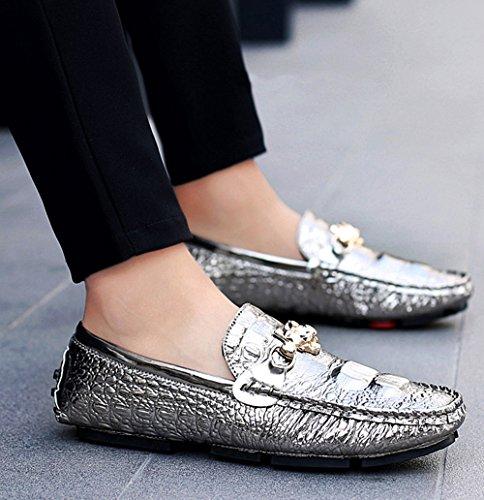 Hombres Ocasionales De Verano Comodidad Barco La De Perezosos Zapatos Mocasines Los Blanco Manera De Del Zapatos Silver Negro PqHBIY
