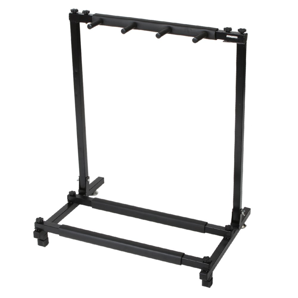 Kuyal Iron Guitar Stand Multi-Guitar Display Rack Bass Folding Stand Band Stage Bass Acoustic Guitar, Black (3 Holder)