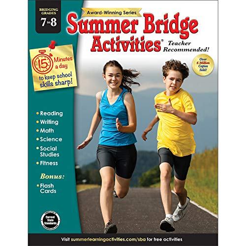 Summer Bridge Activities - Grades 7 - 8, Workbook for Summer Learning Loss, Math, Reading, Writing and More with Flash Cards (Advantage Core)