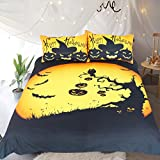 Sleepwish 3 Piece Halloween Bedding Pumpkin Bat Design Teenage Bedding Festival Duvet Cover Black and Yellow Bed Set Queen Size