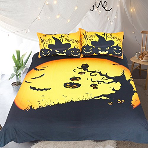 Sleepwish Happy Halloween Duvet Cover Pumpkin Bats Haunted Print Festival Decorations Bedding Funny Halloween Gifts Double Size