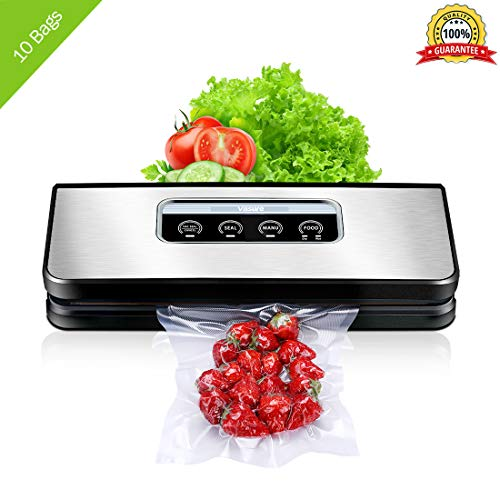 Vacuum Sealer Machine for Food Preservation, Villsure Food Sealer Automatic Vacuum Sealing System with Hose Attachment and Sealing Bags Starter Kit, Fresh Up to 5x Longer ()