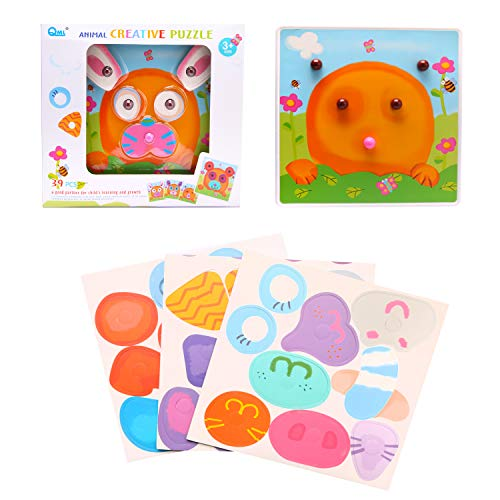 LL Button Art Color Matching Pegboard Puzzles Toys Create Animal Faces Building Blocks Contained 39PCS Jigsaw Toy Brick for Preschool Christmas New Year Birthdays Gift ()
