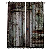 interesting french country patio decor ideas  Blackout Window Curtains for Kitchen, Old Country Wooden Door 2 Panel Window Treatments/Drape for Kids Room/Living Room/Cafe/Bedroom, 55W x 39L inch