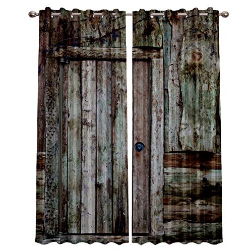 Blackout Window Curtains for Kitchen, Old Country Wooden Door 2 Panel Window Treatments/Drape for Kids Room/Living Room/Cafe/Bedroom, 55W x 39L inch