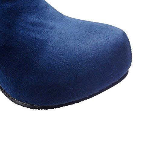 AllhqFashion Damen Rund Zehe Hoher Absatz Nubukleder Rein Ziehen auf Stiefel Blau
