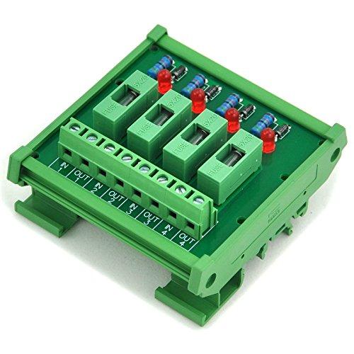 Electronics-Salon 4 Channel Fuse Interface Module,for 100~250VAC, Din Rail Mount,w/Fail Indicator ()