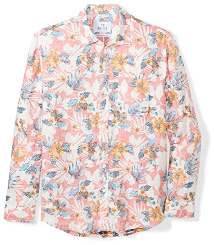 (28 Palms Men's Relaxed-Fit Long-Sleeve 100% Linen Reverse Print Shirt, Washed Coral Floral, XX-Large)
