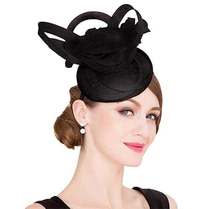 b345a53a FADVES Ladies Fascinators Sinamay Pillbox Hat Elegant Derby Church Wedding  Hats Black at Amazon Women's Clothing store: