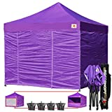 Cheap ABCCANOPY Commercial 10×10 Ez Pop up Canopy, Party Tent, Fair Gazebo with 6 Zipped End Sidewalls and Roller Bag Bonus 4x Weight Bag (purple)