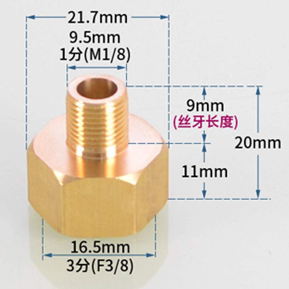 Reduzierst/ück 1//8 Zoll weiblich auf 1//4 Zoll m/ännlich BSPP Rohradapter Messing Wasser /Öl Gas Luft