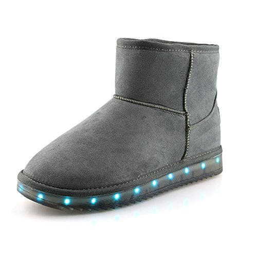 Price comparison product image Idea Frames Girls Womens USB Charging LED Suede Snow Boots Gray Size US13.5M