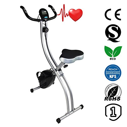 Ativafit Exercise Bike Folding Magnetic Upright Adjustable Seat With Pulse Rate Sensors Fitness&Work Indoor Trainer Resistance Bikes