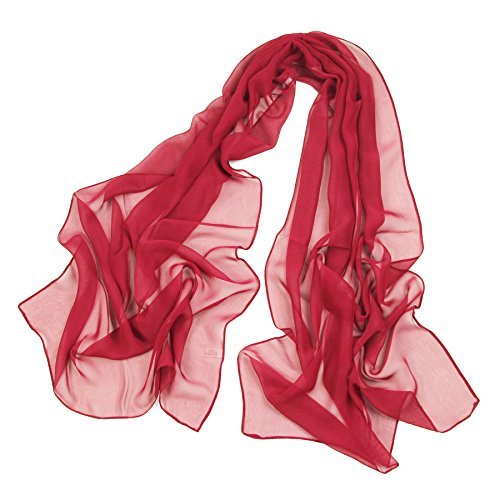 Long Chiffon Sheer Scarf For womens - PANTONIGHT FL001 2018 New Design for All Seasons Shaded Color Lightweight Extra Long Shawl (plain cherry ()