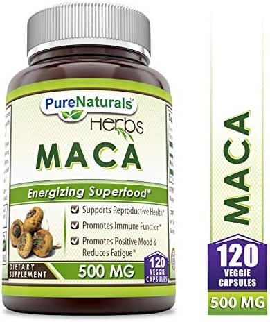Pure Naturals Maca 500 Mg 120 Veggie Capsules, Supports Reproductive Health* Promotes Immune Function* Promotes Positive Mood & Reduces Fatigue*
