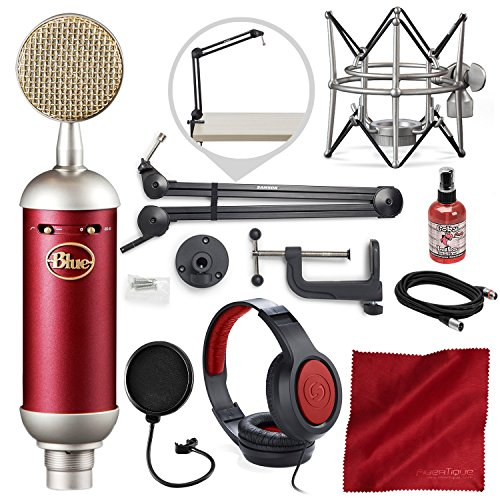 (Blue Spark SL Large-Diaphragm Studio Condenser Microphone with Samson Microphone Boom Arm Stand, Closed-Back Headphones, and Platinum Bundle)