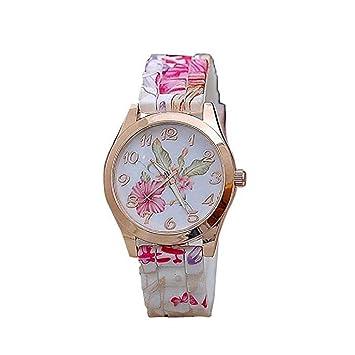 Relojes Casuales de Mujer Scpink,Bonito Estampado de Flores ...
