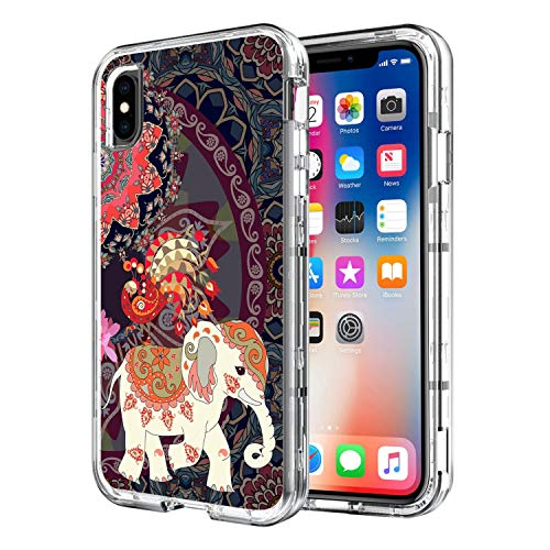 - iPhone Xs Max Case, iPhone Xs Max 6.5 inch Heavy Duty Case Clear Transparent Cover Printed Three Layer Hybrid Hard Plastic Soft Rubber High Impact Shockproof Absorbent Protective Phone Case