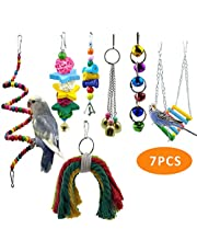 PREFERHOUSE 6 Pcs/Set Bird Swing Musical Toy, Parrot Rack Bell Toy, for Macaw, Parakeet, African Grey Parrot