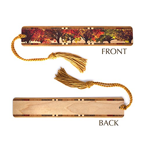 Autumn Bookmark (Autumn Trees - Wooden Hand Made Bookmark on Maple with Copper Tassel)