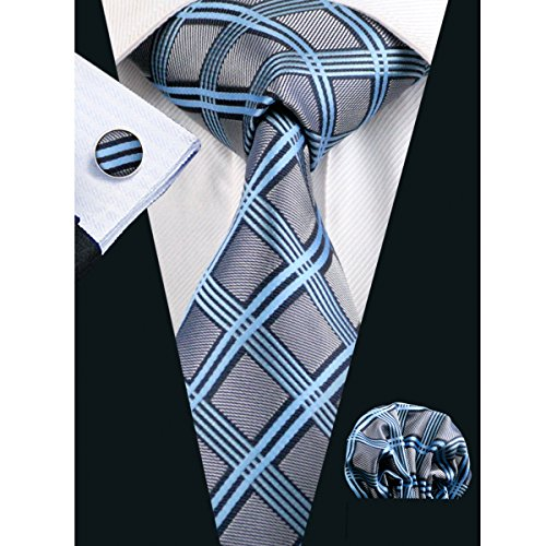 Classic Square Cufflinks (Hi-Tie Blue Grey Checks Necktie for)