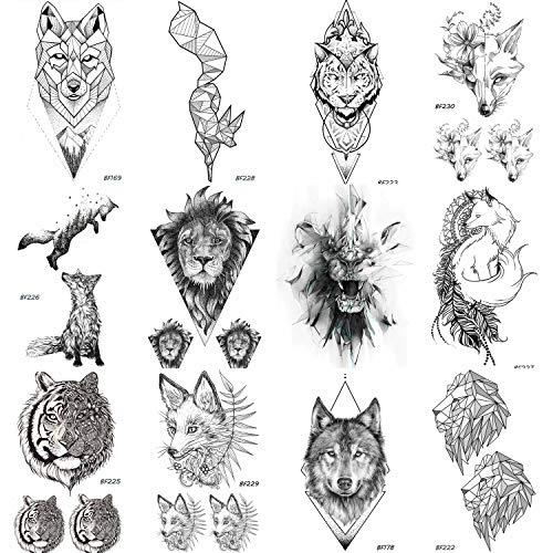 12 Pieces/Lot COKTAK Real Tribal Tiger Face Temporary Tattoos For Women and Men Body Art Fake Black Waterproof Fox Tatttoo Sticker Lion Design 10x6CM