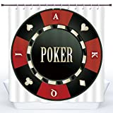 Decorative Shower Curtain,Poker Tournament,Casino Chip with Poker Word in Center Rich Icon Card Suits Decorative,Army Green Vermilion White,Polyester Shower Curtains Bathroom Decor Set with Hooks