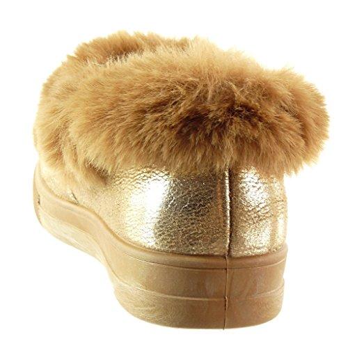 2 Chaussure Talon Mode CM bijoux semelle 5 basket femme fourrure Baskets Angkorly plat vd8q5Ow8