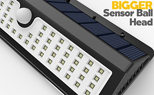 Lemontec Solar Lights, 62 LED Wall Solar Light Outdoor Security Lighting Nightlight with Motion Sensor Detector for Garden Back Door Step Stair Fence Deck Yard Driveway, 2 Pack