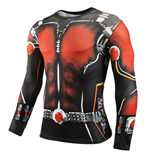 驚いた十分です地平線メンズ Tシャツ 長袖 デジタル印刷運動 Hero AntMen吸汗速乾 オールシーズン コンプレッションウェア パワーストレッチ アンダーウェア