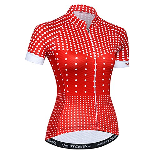 Women's Cycling Jersey with Short Sleeves,Girls MTB Bike Shirt Top with Three Pockets Red Dots Size M (Jersey Cycling Red Team)