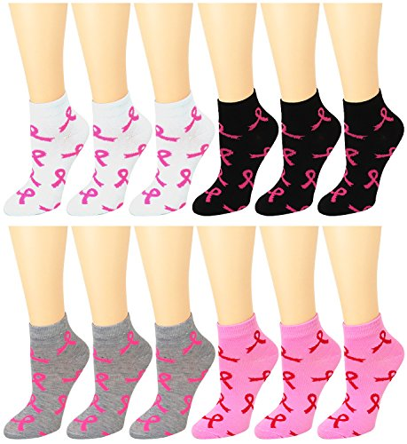 12-Pack Women's Ankle Socks Assorted Colors Size 9-11 (Pink Ribbon #2) -