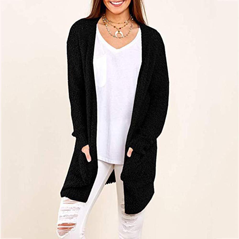 Luckycat Sudadera Casual Mujer Invierno Sólido Cálido Bolsillos de Lana Cardigan Abrigo Outwear: Amazon.es: Ropa y accesorios