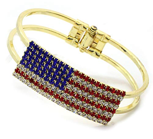 cocojewelry 4th of July USA American Flag Patriotic Red Blue Bangle Cuff Bracelet (Gold-Tone Flag) ()