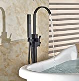 GOWE Modern Freestanding Bathtub Faucet Tub Filler Oil Rubbed Bronze Floor Mount with Handshower