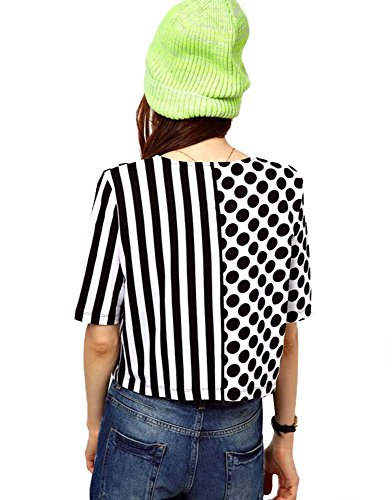 Omine Women's Stripes Dots Print Crop Top T Shirt,Black and White,X-Large