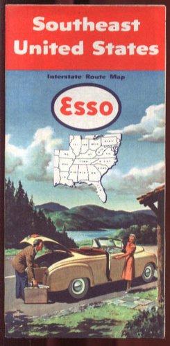 Esso Gasoline Road Map Southeast USA 1951