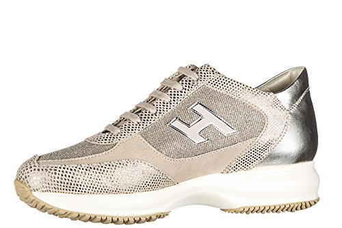 Hogan Scarpe Donna Scarpe Da Ginnastica In Pelle Scamosciata Sneakers Interattive H Flock Rosa