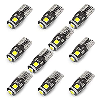 KAFEEK 10x T10 Wedge 194 168 2825 W5W LED Bulbs, Super Bright 3-3030 Chipset,CAN-Bus error free, Non-polarity, Interior Lights, License Plate Dome Map Door Courtesy Park Lights,Xenon Withe: Automotive
