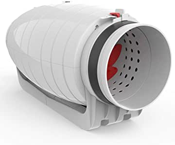 """Vtronic 6"""" Quiet Inline Duct Fan Pre-Wired, Super Silent 25dB 550 CFM Speed Controllable Booster Fan for Grow Tent/Hydroponics/Air Exhaust/Ventilation"""