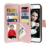 Vofolen 2 in 1 Case for iPhone 6S Case iPhone 6 Case Wallet Case Folio Flip PU Leather Case Magnetic Detachable Slim Back Cover Hard Case Card Holder Slot Pocket Wrist Strap for iPhone 6 6S Rose Gold