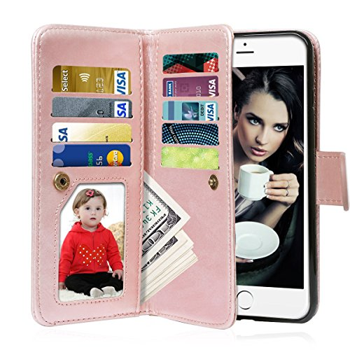 Vofolen 2 in 1 Case for iPhone 6S Case iPhone 6 Case Wallet Case Folio Flip PU Leather Case Magnetic Detachable Slim Back Cover Hard Case Card Holder Slot Pocket Wrist Strap for iPhone 6 6S Rose Gold