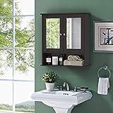 Tangkula Bathroom Cabinet Double Mirror Door Wall