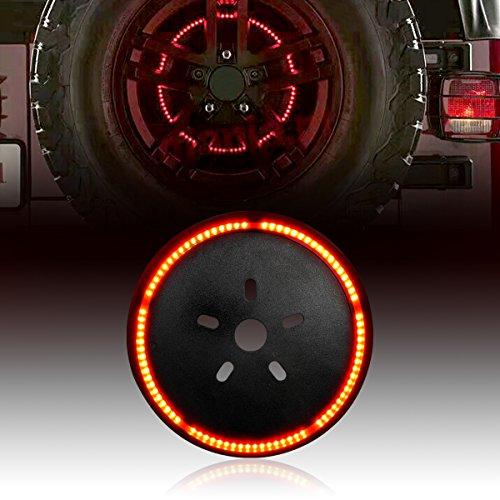 ICARS Blackend Spare Tire Cover LED Third Brake Light Red Light for 2007-2017 Jeep Wrangler JK Unlimited Rubicon Sahara (Light Brake 3rd Cover)
